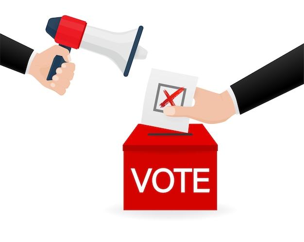 Hand holding megaphone. vote icon for  . voting concept.  illustration.