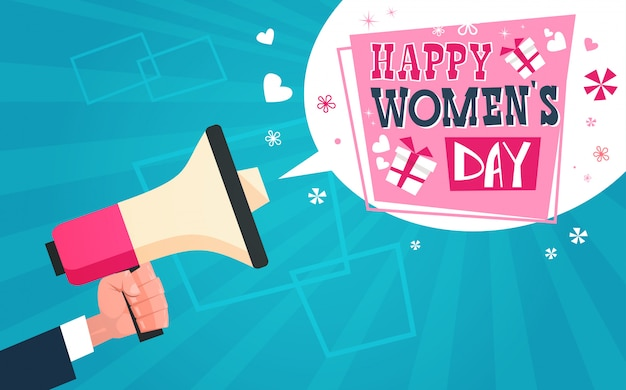 Hand holding megaphone with happy women day greeting message on blue