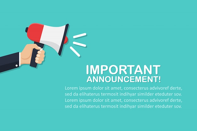 Hand holding megaphone with important announcement in a flat design