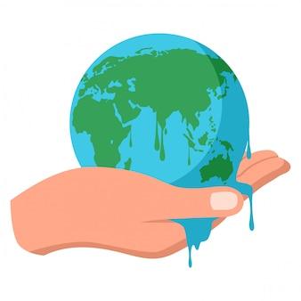 Hand holding melting earth