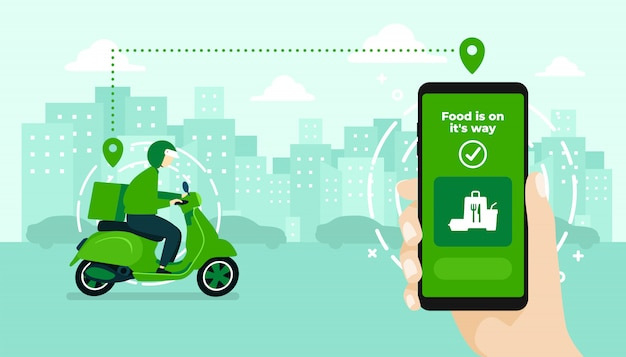 Hand holding mobile application tracking a delivery man on a moped