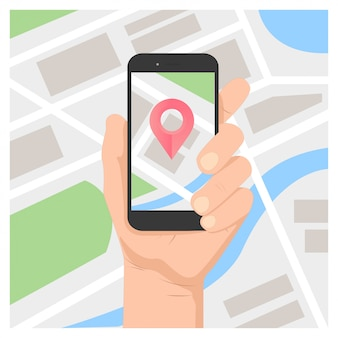 Hand holding mobile gps navigation on mobile phone with map and pin vector illustration