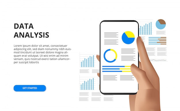 Hand holding mobile phone data analysis report concept illustration
