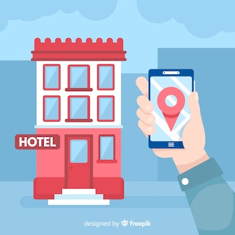 Hand holding mobile phone hotel booking background