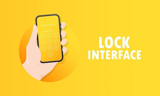 Рука, держащая интерфейс блокировки экрана мобильного телефона