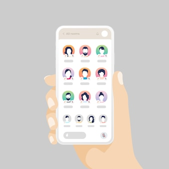 오디오 채팅 소셜 네트워크 응용 프로그램과 함께 휴대 전화를 들고 손. 프리미엄 벡터