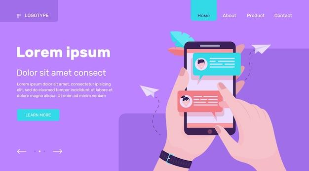Рука мобильный телефон с онлайн-сообщениями плоской векторной иллюстрации. современный экран смартфона с чатом. концепция общения и разговора