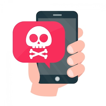 Hand holding mobile phone with skull in a speech bubble