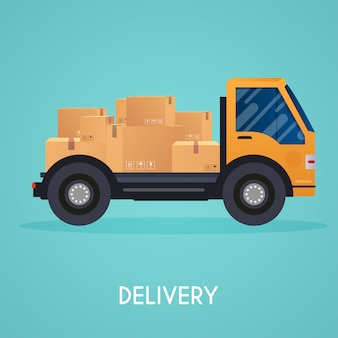Hand holding mobile smart phone with app delivery tracking.  modern flat creative info graphics design on  application.