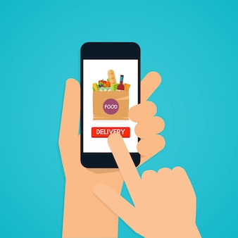 Hand holding mobile smart phone with application food delivery.  food in package. e commerce concept: order food online website.