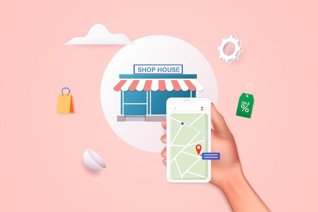응용 프로그램 검색 약국이 있는 모바일 스마트 폰을 들고 도시 지도 3d에서 가장 가까운 곳 찾기