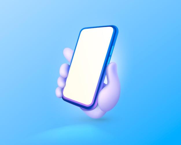 空白の画面のモダンなモックアップベクトルと携帯電話を持っている手