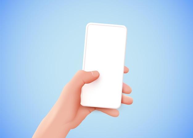 빈 화면의 현대적인 모형이 있는 모바일 스마트 폰을 들고 있는 손