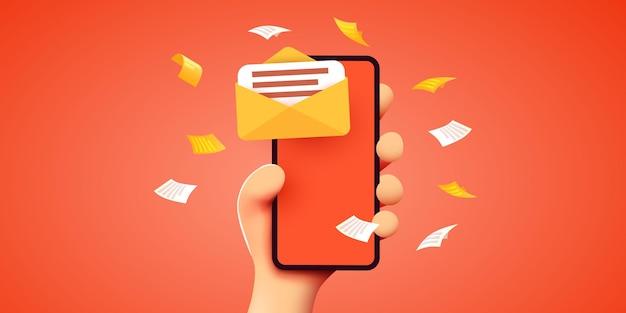 메일 앱 메일 서비스 개념이 있는 모바일 스마트 폰을 들고 있는 손