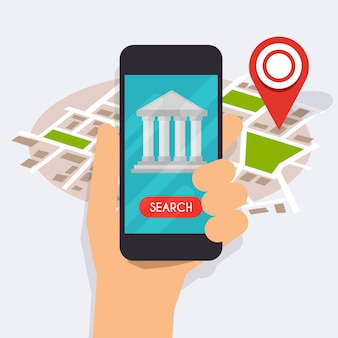 Hand holding mobile smart phone with mobile app bank search.