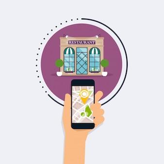 モバイルアプリケーション検索レストランでモバイルスマートフォンを持っている手。市内地図で最も近い場所を探します。フラットなデザインスタイルのモダンなコンセプト。