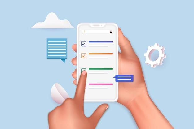 Ñhecklistアプリで携帯スマートフォンを持っている手。ビジネスタスクの正常な完了。 3dwebベクトルイラスト。