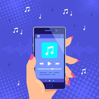 손을 잡고 오디오 또는 라디오를 재생하는 현대 전화. 스마트 폰 음악 플레이어 사용자 인터페이스. 미디어 플레이어 앱.