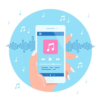 Hand holding modern phone playing audio or radio. smartphone music player user interface concept. media player app