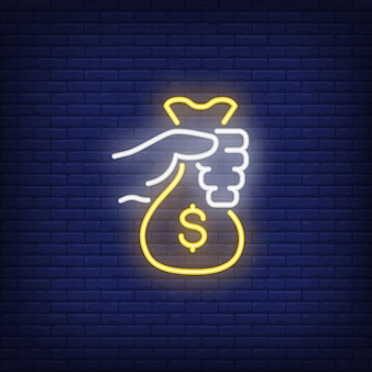 Hand holding money bag neon sign