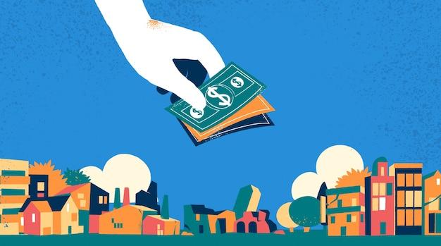 Hand holding money on city landscape