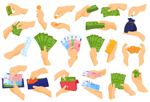 Hand holding money vector illustration set.
