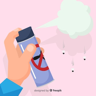 Hand holding mosquito spray in flat design