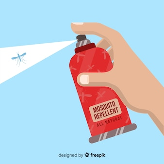 Hand holding mosquito spray in flat style