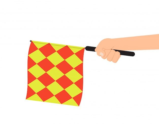 Hand holding offside flag
