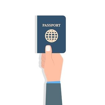 Рука паспорт. путешествия и туризм и концепция идентификации личности. векторная иллюстрация