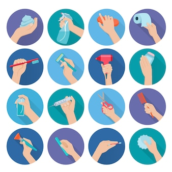Hand holding personal hygiene objects flat icons set