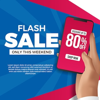Hand holding phone for flash sale social media template. advertising marketing promotion for discount product at commerce with blue and magenta wall