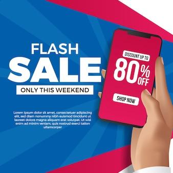 플래시 판매 소셜 미디어 템플릿에 대 한 손을 잡고 전화. 파란색과 자홍색 벽이있는 상거래에서 할인 제품에 대한 광고 마케팅 프로모션