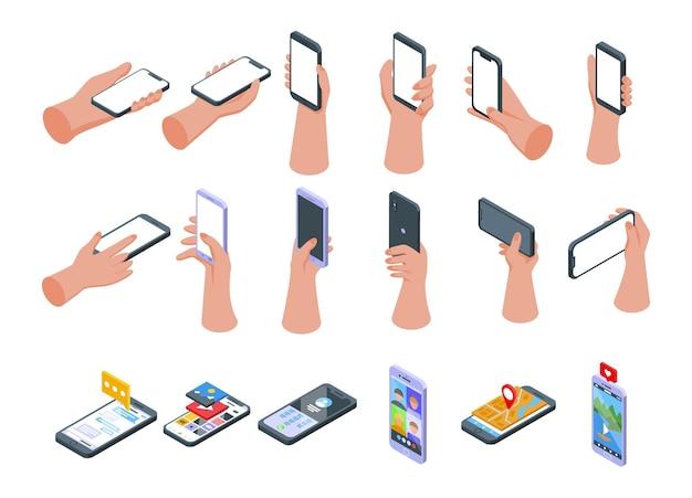 Рука, держащая набор иконок телефона. изометрические набор руки, держащей телефон векторные иконки для веб-дизайна, изолированные на белом фоне