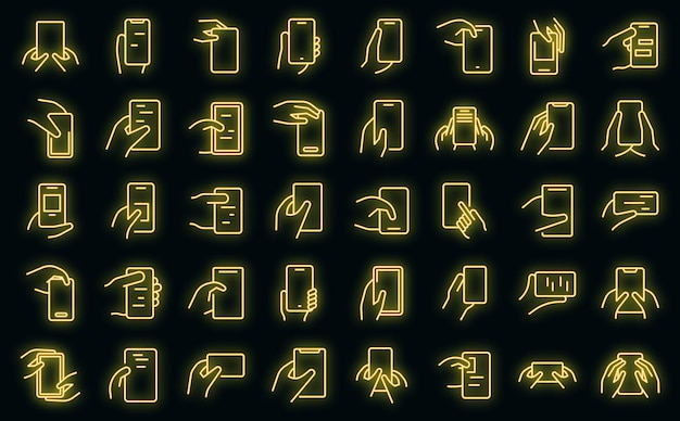 Hand holding phone icons set vector neon