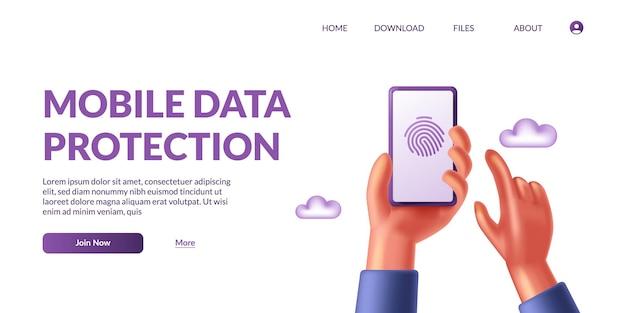 Рука, держащая телефон защиты мобильных данных. безопасность личной жизни. 3d значок отпечатков пальцев биометрические милые векторные иллюстрации