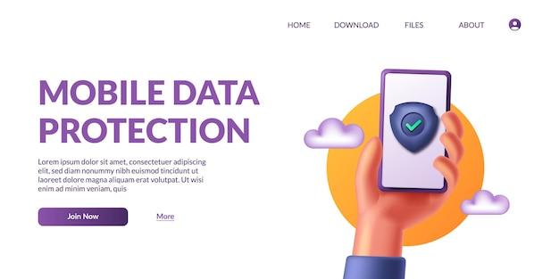 Рука, держащая телефон защиты мобильных данных. безопасность личной жизни. 3d значок безопасный щит мило векторные иллюстрации