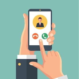 Рука держит телефон телефонный звонок концепции графических изолированных иллюстрация