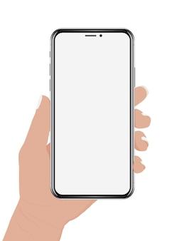Hand holding phone vector design
