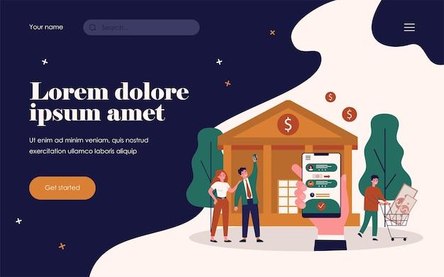 은행 앱이 있는 손을 잡고 전화입니다. 돈, 거래, 은행 평면 벡터 일러스트 레이 션. 배너, 웹 사이트 디자인 또는 방문 웹 페이지에 대한 금융 및 디지털 기술 개념