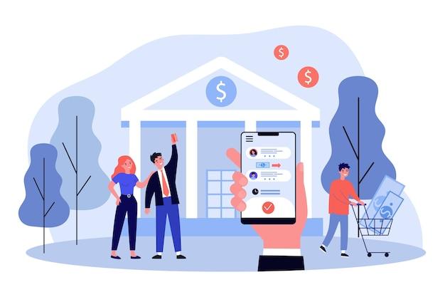 銀行のアプリで携帯電話を持っている手。お金、取引、銀行のイラスト。バナー、ウェブサイトまたはランディングウェブページの金融とデジタル技術の概念