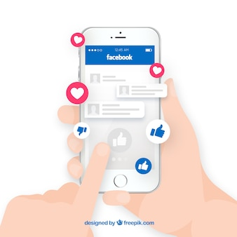 Hand holding phone with facebook notifications