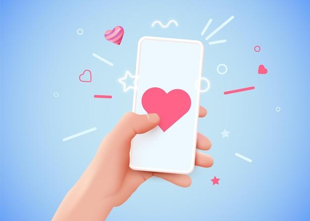 Рука держит телефон с концепцией социальной сети символ сердца