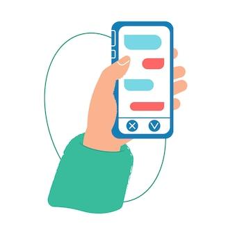 Рука телефон с почтой. онлайн чат в интернете. кнопка