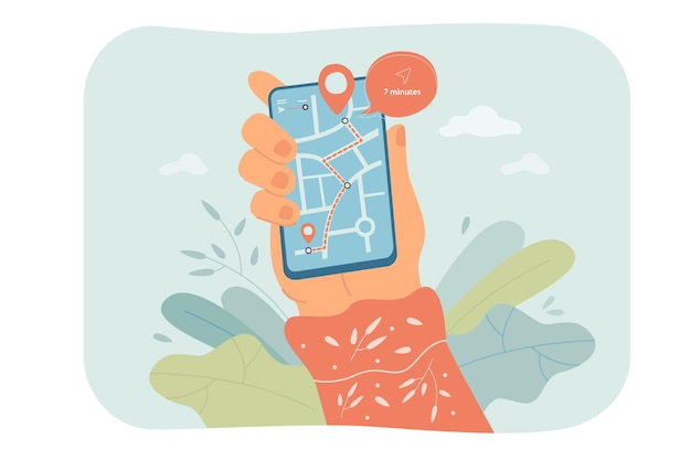 Hand holding phone with map on screen flat illustration
