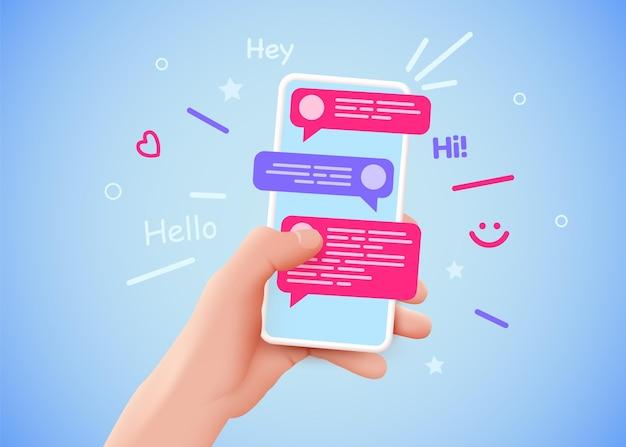 Рука, держащая телефон с сообщениями, общение и социальные сети концепции векторные иллюстрации