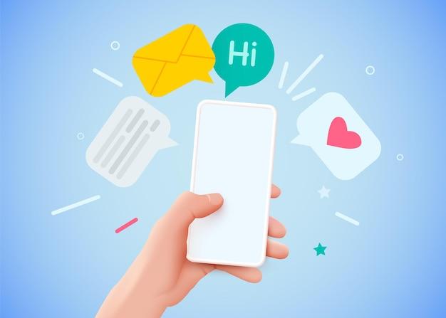 메시지 통신 및 소셜 네트워킹 개념이 있는 손을 잡고 전화