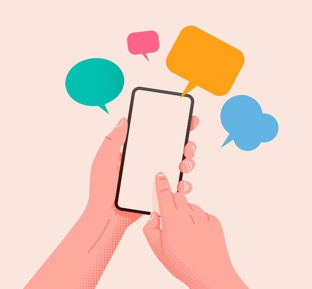 メッセージ通信とソーシャルネットワーキングの概念と携帯電話を持っています