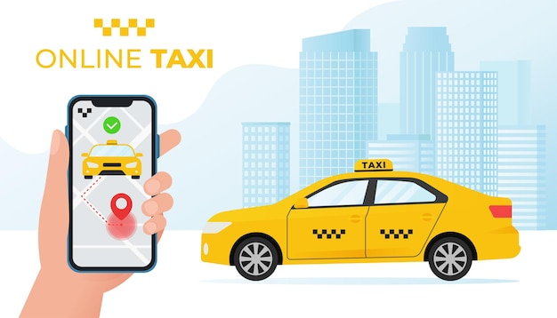 Hand holding phone with online taxi service concept with yellow taxi car illustration in flat style