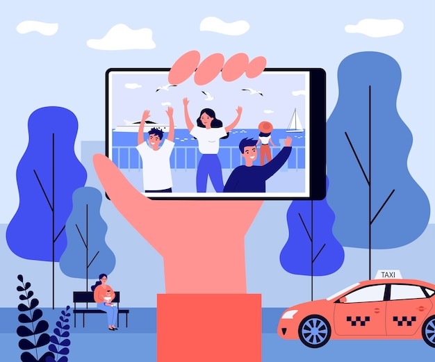 Hand holding phone with photo on seafront. friend, memory, city flat vector illustration
